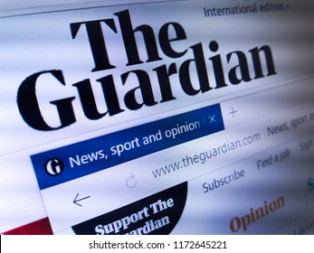 Minsk, Belarus - September 05, 2018: The homepage of the official website for The Guardian, a British daily newspaper. It was known from 1821 until 1959 as the Manchester Guardian.
