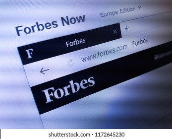 Minsk, Belarus - September 05, 2018: The homepage of the official website for Forbes, an American family-controlled business magazine.