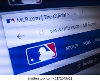 Minsk, Belarus - September 05, 2018: The homepage of the official website for Major League Baseball (MLB), a professional baseball organization