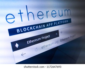 Minsk, Belarus - September 05, 2018: The homepage of the official website for Ethereum, an open-source, public, blockchain-based distributed computing platform and operating system