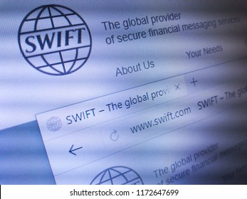 Minsk, Belarus - September 05, 2018: The homepage of the official website for The Society for Worldwide Interbank Financial Telecommunication (SWIFT)