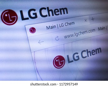 Minsk, Belarus - September 05, 2018: The homepage of the official website for LG Chem Ltd., often referred to as LG Chemical, the largest Korean chemical company