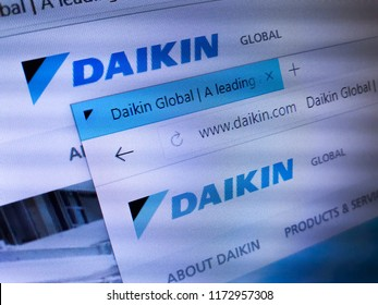 Minsk, Belarus - September 05, 2018: The homepage of the official website for Daikin Industries, Ltd., a Japanese multinational air conditioning manufacturing company headquartered in Osaka.