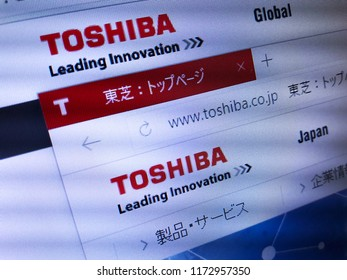 Minsk, Belarus - September 05, 2018: The homepage of the official website for Toshiba Corporation, a Japanese multinational conglomerate headquartered in Tokyo, Japan
