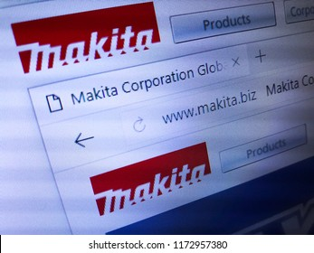Minsk, Belarus - September 05, 2018: The homepage of the official website for Makita Corporation, a Japanese manufacturer of power tools.