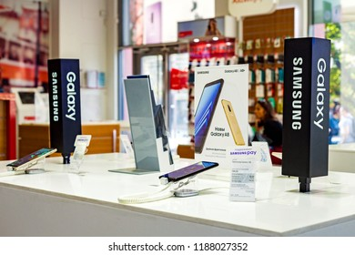Minsk, Belarus, September 1, 2018: Showcase Samsung Galaxy with a branded store.