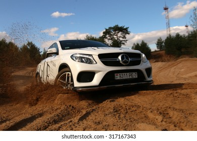 MINSK, BELARUS - SEPTEMBER 10, 2015: New Mercedes-Benz GLE 400 Coupe at the test drive event for automotive journalists from Minsk