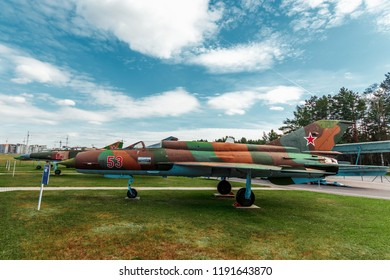 Minsk, Belarus, September 10, 2018. Museum of Avionics, MIG 21. Multipurpose fighter MiG-21. Fighter-bomber of the 2nd generation, which was in service in Russia.