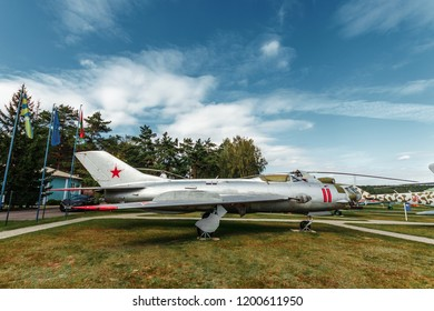 Minsk, Belarus, September 10, 2018. Museum of Avionics, MIG 19. Multipurpose fighter MiG-19. Fighter-bomber of the 1st generation, which was in service in Russia.