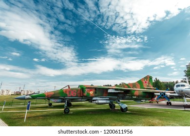 Minsk, Belarus, September 10, 2018. Museum of Avionics, MIG 27. Frontal multipurpose fighter MiG-27. Fighter-bomber of the 3rd generation, standing on arms in Russia.