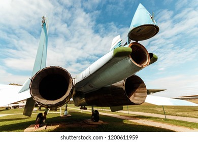 Minsk, Belarus, September 10, 2018. Museum of Avionics, MIG 29. Separate parts of the fuselage, close-up. Samalet, a 4th generation fighter in service with Russia.