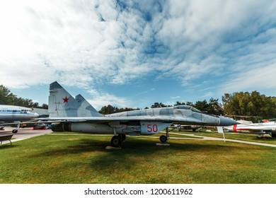 Minsk, Belarus, September 10, 2018. Museum of Avionics, MIG 29. Samalet is a 4th-generation fighter in Russia's arsenal.