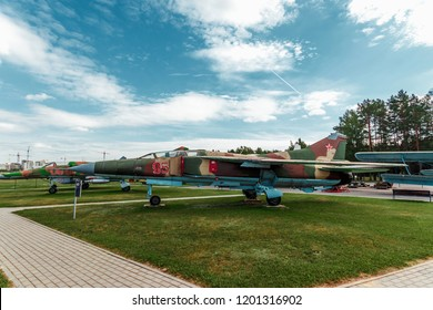 Minsk, Belarus, September 10, 2018. Museum of Avionics, MIG 23. Frontal multipurpose fighter MiG-23. Fighter-bomber of the 3rd generation, standing on arms in Russia.