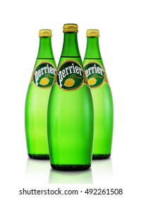 MINSK, BELARUS - SEPTEMBER 11, 2016. Three Bottles of Perrier Lemon - Sparkling Natural Mineral Water. Perrier is the best-selling imported sparkling mineral water in the U.S.