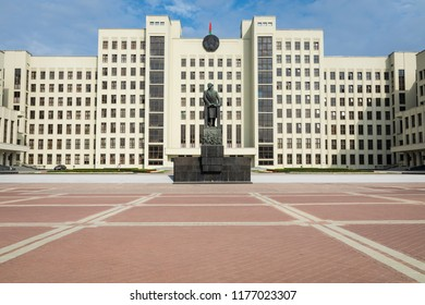 MINSK, BELARUS - SEPTEMBER 11, 2018: Monument of Lenin near Government House of Republic of Belarus. Independence Square, Minsk, Belarus.