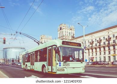 MINSK, BELARUS - SEPTEMBER 11, 2018: View of center of Minsk. Station Square. Minsk. Belarus.