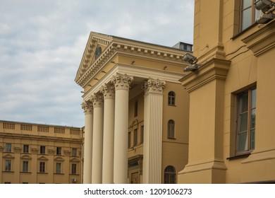 MINSK, BELARUS - SEPTEMBER 12, 2018: Traditional architecture in old part of city of Minsk, Belarus.