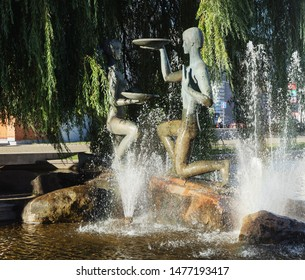 """Minsk, Belarus - September 13, 2016: Fountain and sculptural composition """"Youth"""""""