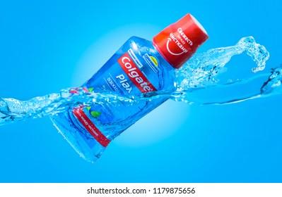 Minsk, Belarus - September 13, 2018: Advertising Colgate Plax rinse mouth ads water waves, splash
