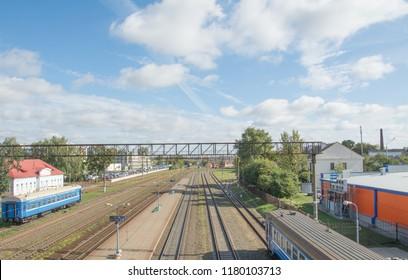 MINSK, BELARUS - September 13, 2018. Trainstation Vostok, aerial view.
