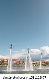 Minsk, Belarus - September 14, 2019: Performance of the flyboarders team