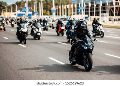 Minsk, Belarus - September 14, 2019 . Motorcycles ride around the city . Bikers drove along one of the main streets