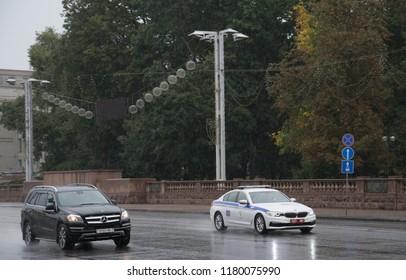 MINSK, BELARUS - September 15, 2018. Police car Belarus, Minsk city