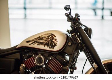 MINSK, BELARUS - September 15, 2018.Emblem and engine of Harley Davidson. Motorcycle parts