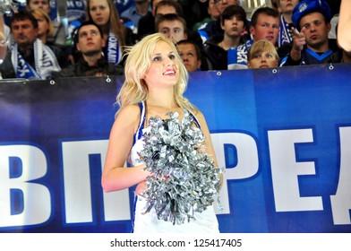 "MINSK, BELARUS - SEPTEMBER 15: Unidentified cheerleader from ""Ice Girls"" watching KHL regular match Dynamo Minsk VS CSKA Moskow on September 15, 2012 in Minsk, Belarus."