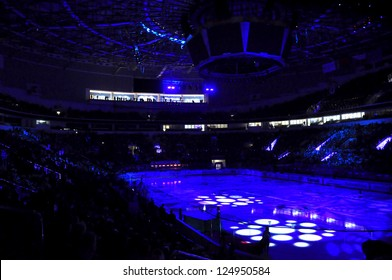 MINSK, BELARUS - SEPTEMBER 15:The beginning of KHL regular match Dynamo Minsk VS CSKA Moskow in MINSK ARENA on September 15, 2012 in Minsk, Belarus.