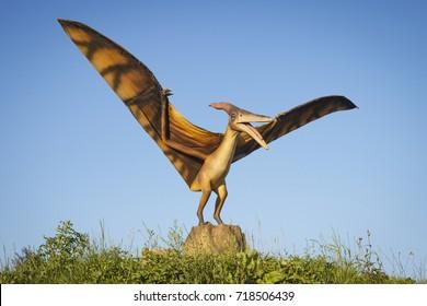 Minsk, Belarus - September 17, 2017: Realistic models of Pterodactyl dinosaurus in Dino Park