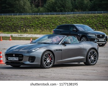 MINSK, BELARUS - SEPTEMBER 2, 2018: Jaguar F-Type 5.0 Litre V8 550 Supercharged AWD parked outside.