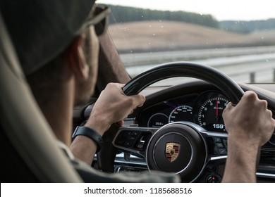 MINSK, BELARUS - SEPTEMBER 2, 2018: Porsche Panamera e-hybrid porsche exprerience road tour