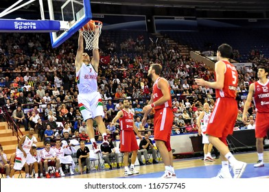 MINSK, BELARUS SEPTEMBER 2: Artsiom Parakhouski (Belarus) makes Slam Dunk during European Championship qualifying match (Belarus-Turkey) on September 2, 2012 in Minsk, Belarus.