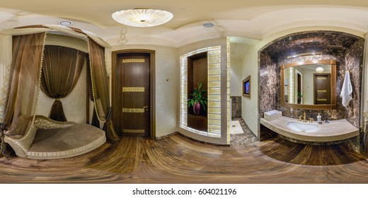 MINSK, BELARUS - SEPTEMBER 20, 2012: Full 360 degree panorama in equirectangular spherical projection in stylish restroom. Photorealistic VR content
