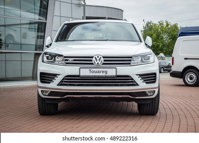 MINSK, BELARUS - SEPTEMBER 20, 2016: VW Touareg at the test-drive event. Touareg offers true 4x4 capabilities off-road, and a smooth powerful ride on it thanks to four wheel drive technology.