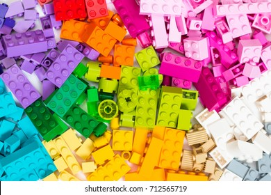 Minsk, Belarus - September, 2017. Lego cubes are lined. Multicolored background. Popular toys.
