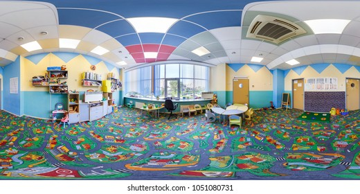MINSK, BELARUS - SEPTEMBER, 2017: Panorama 360 angle view in interior of modern child kindergarden development room. Full 360 degree seamless panorama in equirectangular spherical projection.