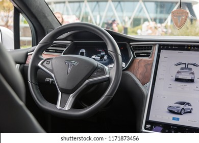 Minsk, Belarus. September, 2018. Exclusive expensive American premium car Tesla model X. High-tech modern development. The robotic car of the future. Interior.