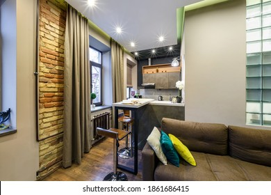 MINSK, BELARUS - SEPTEMBER, 2020: Interior of the modern luxure guestroom in studio apartments in brown light color style