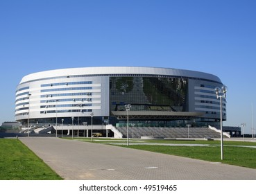 """MINSK, BELARUS - SEPTEMBER 21: Winter sports complex known as """"Minsk-Arena"""" is shown September 21, 2009 in Minsk. The complex cost about $200 Millions to build."""