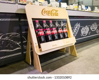 Minsk, Belarus, september 23, 2018: Coca-Cola bottles on the stand in the store.