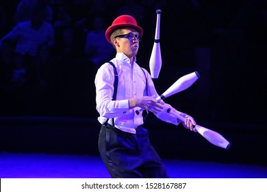 Minsk, Belarus - September 27, 2019: Juggler. II Minsk International Circus Art Festival.
