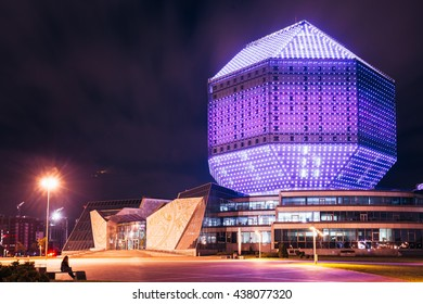 Minsk, Belarus - September 28, 2014: Building Of National Library Of Belarus In Minsk At Night Scene. Building Has 23 Floors And Is 72-metre High. Library Can Seat About 2,000 Readers
