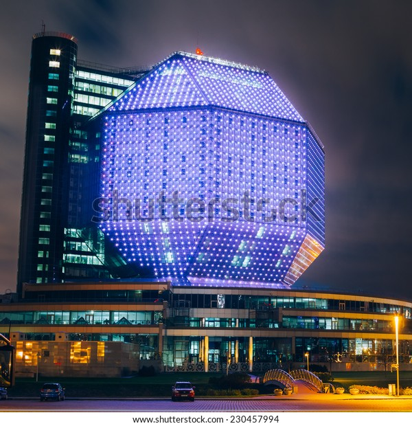 MINSK, BELARUS - SEPTEMBER 28, 2014: Famous Building Of National Library Of Belarus In Minsk At Night Scene. Building Has 23 Floors And Is 72-metre High. Library can seat about 2,000 readers