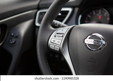MINSK, BELARUS SEPTEMBER 29, 2018: Nissan X-Trail at the test drive event for automotive journalists from Minsk