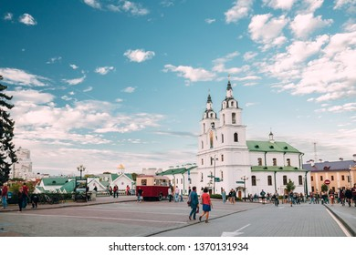 Minsk, Belarus - September 3, 2016: People Walking Near Cathedral Of The Holy Spirit During Celebration Of Day Of Minsk City In A Historic Area Nemiga.