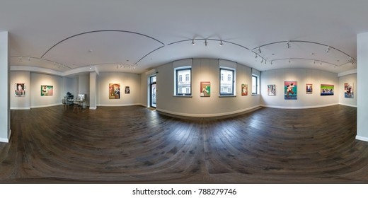 MINSK, BELARUS - SEPTEMBER 4, 2017: 360 panorama view in interior of contemporary art gallery with famous paintings. Full 360 by 180 degree seamless panorama  in equirectangular spherical projection.