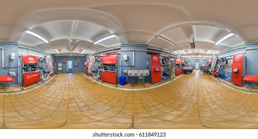 MINSK, BELARUS - SEPTEMBER 6, 2012: Panorama of interior engine room of a modern barn, full 360 panorama in equirectangular spherical projection, VR content