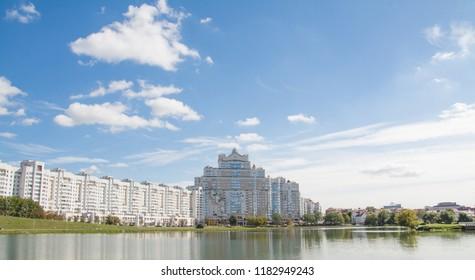 Minsk, Belarus, Svisloch river landscape with blue sky